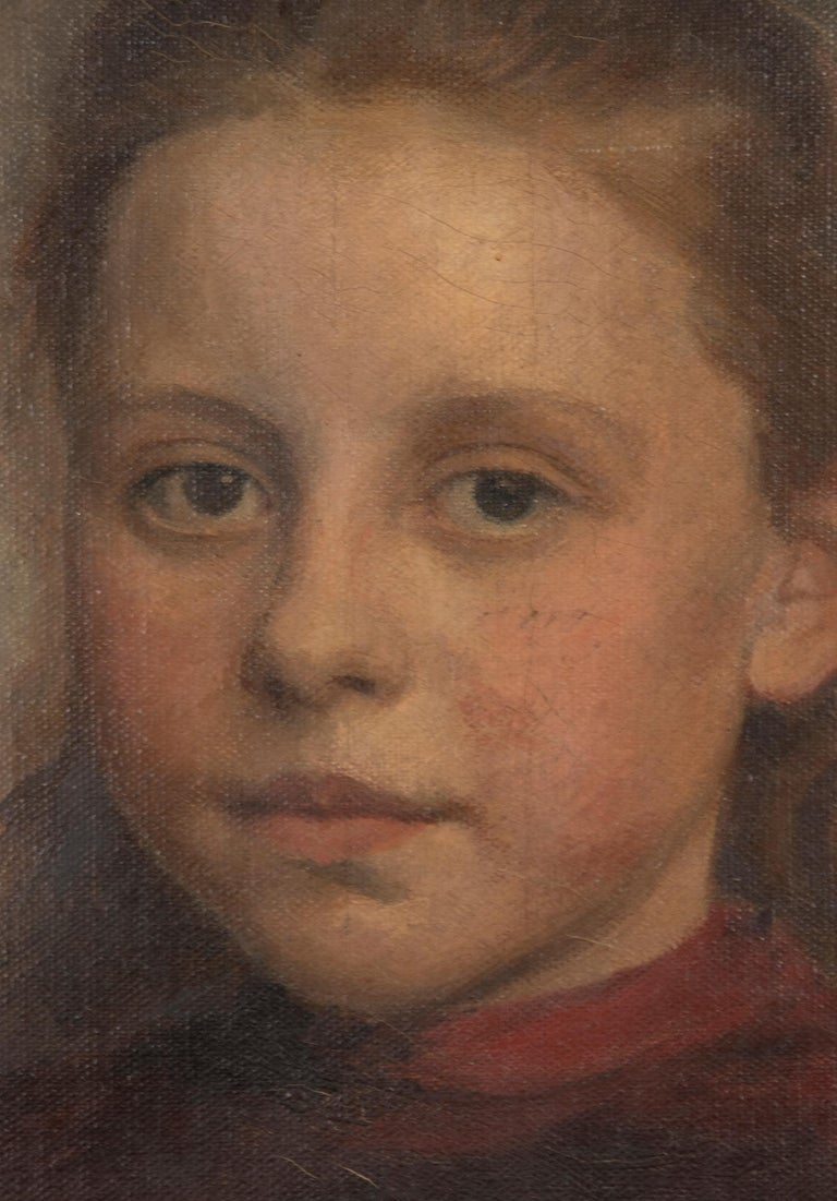 Late 19th Century Oil Painting Portrait Young Girl by Jeremie Delsaux For Sale 1