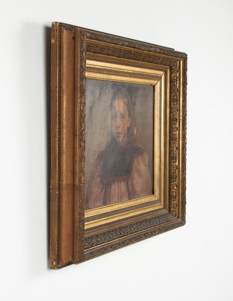 Late 19th Century Oil Painting Portrait Young Girl by Jeremie Delsaux For Sale 2