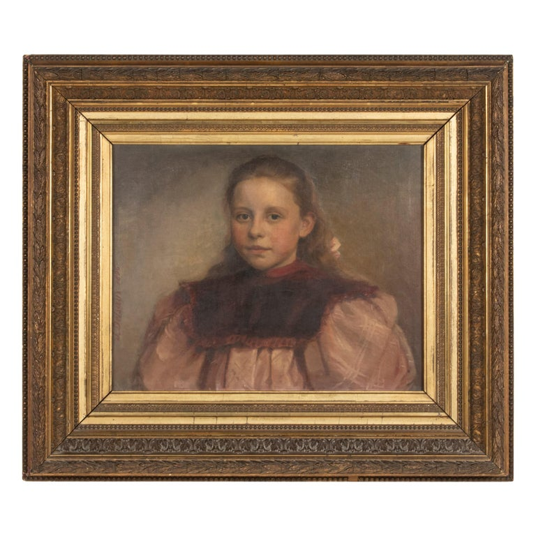 Late 19th Century Oil Painting Portrait Young Girl by Jeremie Delsaux For Sale