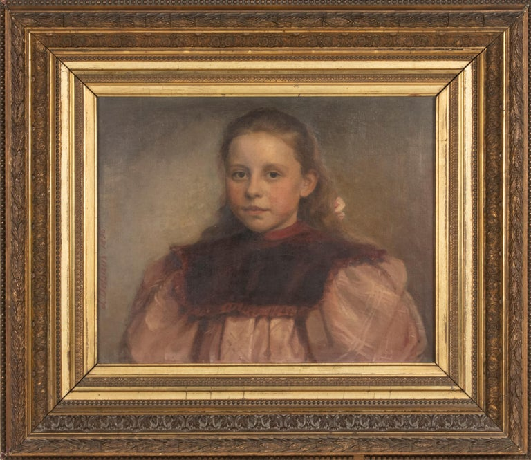 Jeremie DELSAUX. Glain, Belgium 1852 - Liège 1927. An antique oil painting on canvas, a portrait of a young girl with a hairbow. It was painted by Jeremie DELSAUX and dated 1896. Oil on canvas. In a wooden frame with gilded plaster. Frame: 67 x 76