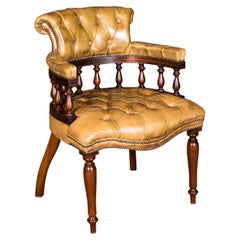 Late 19th Century Original Antique English Chesterfield Leather Armchair