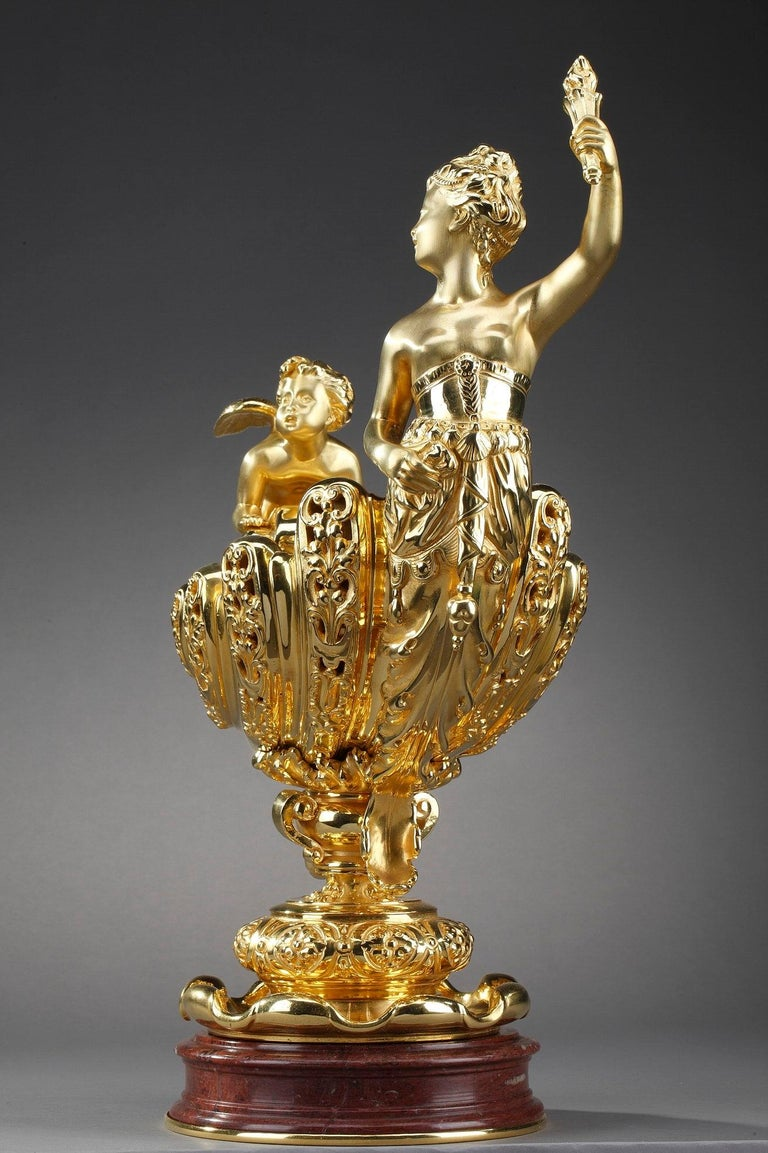 Late 19th Century Ormolu Cup Aurora and Cupid For Sale 4