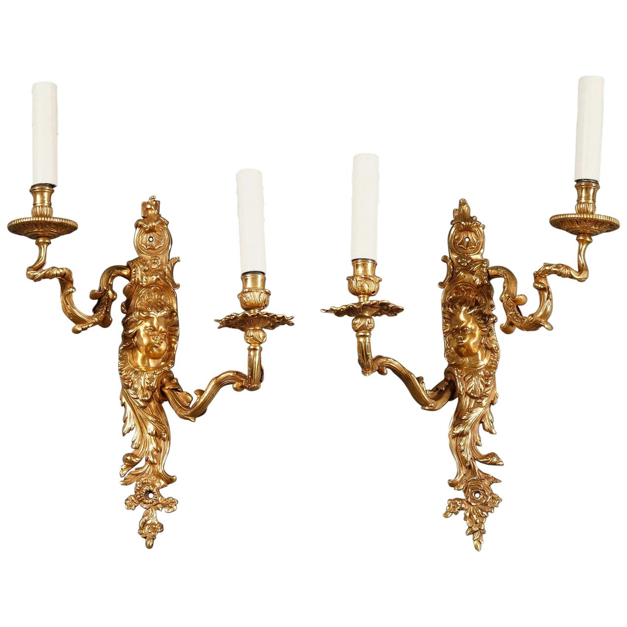 Late 19th Century Ormolu Sconces in Louis XV Style