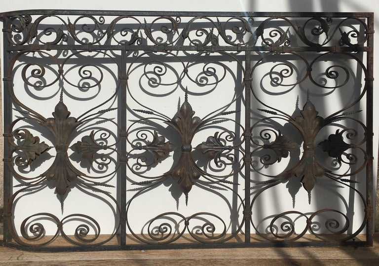 Late 19th Century Ornate Wrought Iron Grilles or Balcony Railing For Sale 6