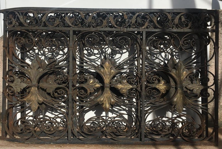 French Late 19th Century Ornate Wrought Iron Grilles or Balcony Railing For Sale