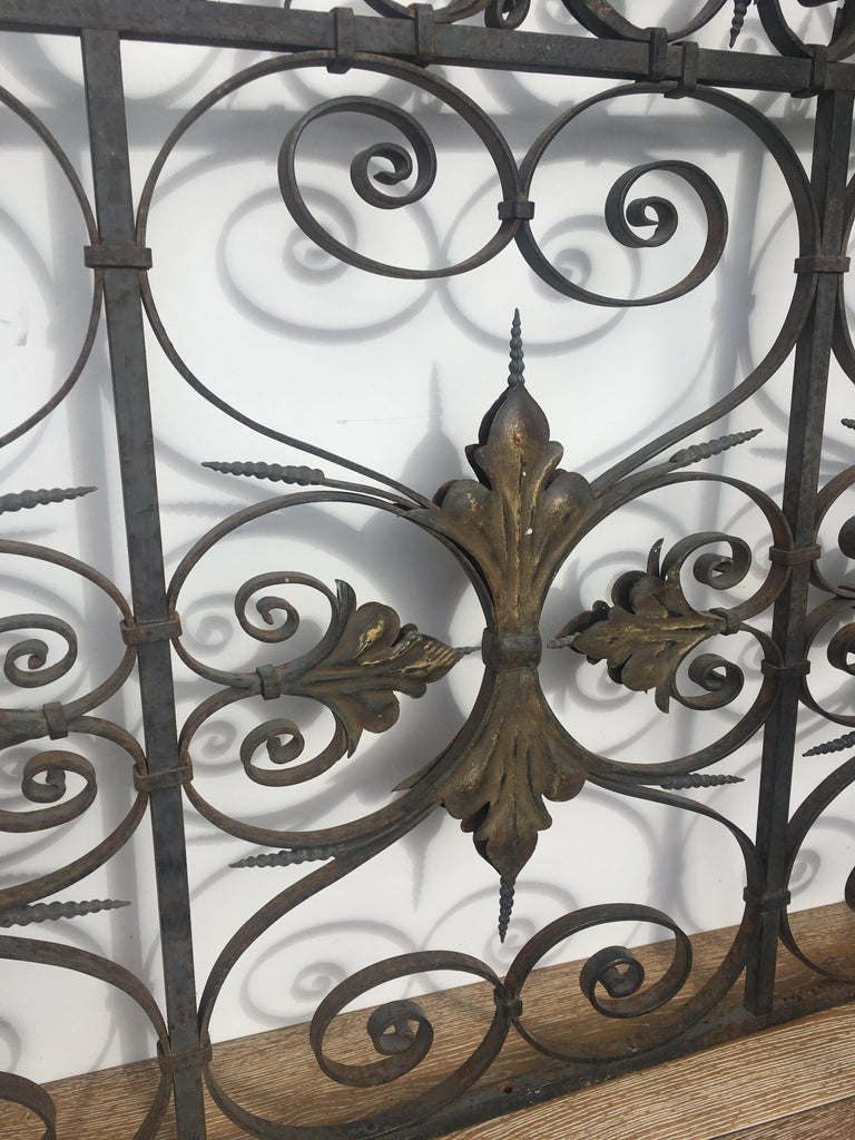 Hand-Crafted Late 19th Century Ornate Wrought Iron Grilles or Balcony Railing For Sale