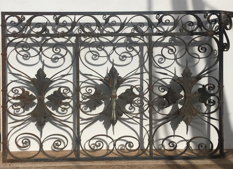 20th Century Late 19th Century Ornate Wrought Iron Grilles or Balcony Railing For Sale