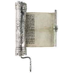 Late 19th Century Ottoman Empire Silver Megillah Case and Esther Scroll