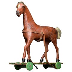 Late 19th Century Oversized Papier Maché Pull Along Horse Toy