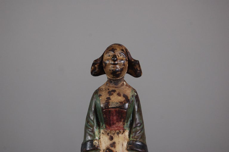 French Late 19th Century Painted Cast Iron Money Box For Sale