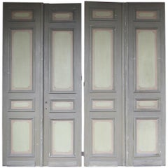Late 19th Century Painted French Double Door, Set of 4
