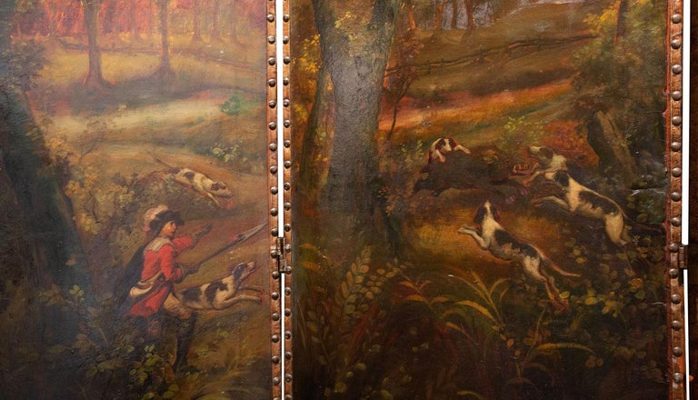 English Late 19th Century Painted Screen with Hunt Scene For Sale