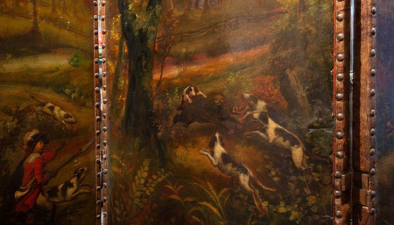Hand-Painted Late 19th Century Painted Screen with Hunt Scene For Sale