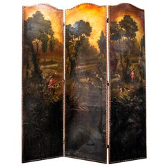 Late 19th Century Painted Screen with Hunt Scene