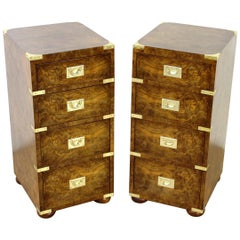 Late 19th Century Pair of Burr Walnut Military Style Bedside Chests
