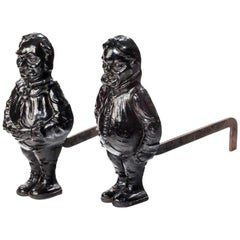 Late 19th century Pair of Cast Iron Andirons
