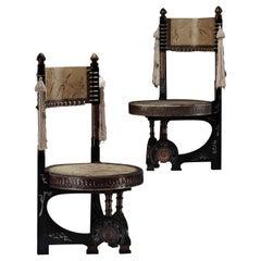Late 19th Century Pair of Circular Throne Chairs by Carlo Bugatti, Vellum,Walnut
