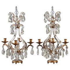 Late 19th Century Pair of Crystal and Gilt Bronze Candelabra