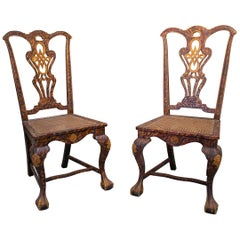 Late 19th Century Pair of English Chippendale Style Chairs with Faux Marbling