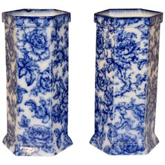Late 19th Century Pair of Flow Blue Vases