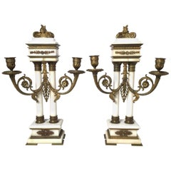 Late 19th Century Pair of  French Bronze and Marble Candelabras