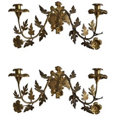 Late 19th Century Pair of French Gilt Bronze and Brass Chapel Wall Candleholders
