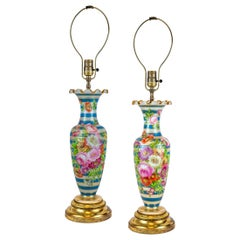 Late 19th Century Pair of French Opaline Painted Vase Lamp by Baccarat