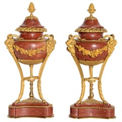 Late 19th Century Pair of Gilt Bronze Mounted Rouge Marble Lidded Coupes