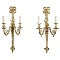 Late 19th Century Pair of Gilt Bronze Wall Lights in Louis XVI Style