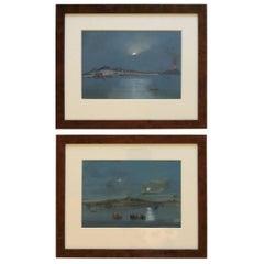 Late 19th Century, Pair of Italian Gouache paintings of Vesuvius