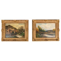 Late 19th Century Pair Oil Painting / Giltwood Frame