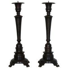 Late 19th Century Pair of Polished and Patinated Cast Bronze Altar Torcheres