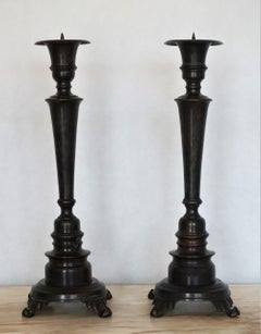 Late 19th Century Pair of Polished and Patinated Cast Bronze Altar Torchieres