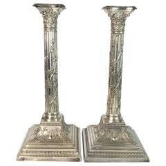 Late 19th Century Pair of Tall Column Form Sheffield Plate Candlesticks