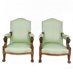 Late 19th Century Pair of Walnut Armchairs with Lion and Claw Feet