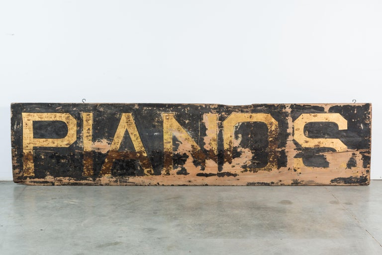 Late 19th Century Pianos Trade American Folk Art Trade Sign 8 Feet Long For Sale 2