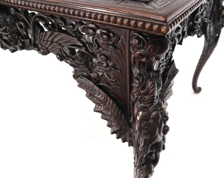 Late 19th Century Pierce Carved Solid Mahogany Desk or Writing Table For Sale 5