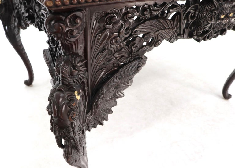 Late 19th Century Pierce Carved Solid Mahogany Desk or Writing Table For Sale 6