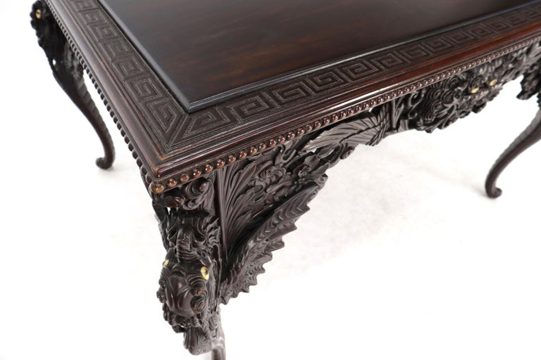 Late 19th Century Pierce Carved Solid Mahogany Desk or Writing Table For Sale 7