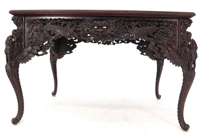 Late 19th Century Pierce Carved Solid Mahogany Desk or Writing Table For Sale 9