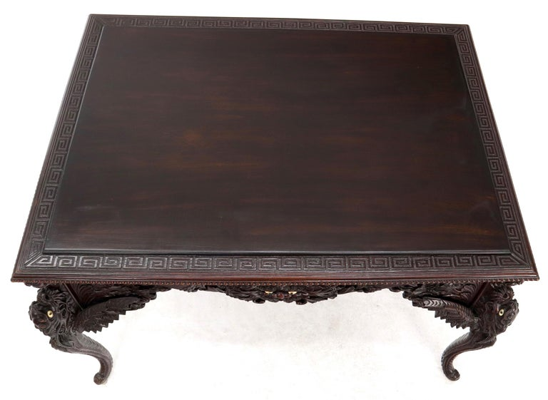 Late 19th Century Pierce Carved Solid Mahogany Desk or Writing Table For Sale 10