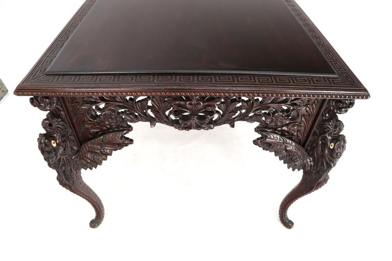 Late 19th Century Pierce Carved Solid Mahogany Desk or Writing Table For Sale 11