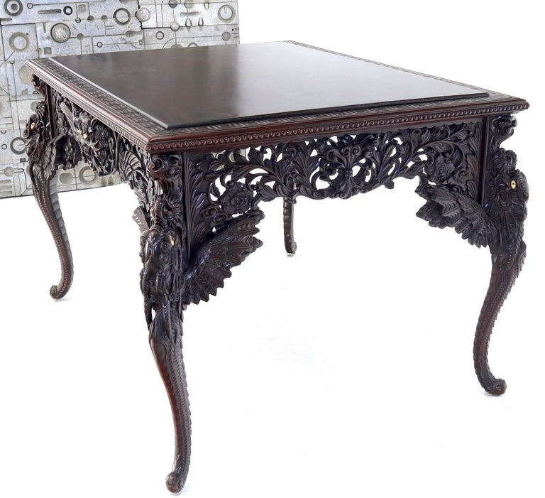 Hand-Carved Late 19th Century Pierce Carved Solid Mahogany Desk or Writing Table For Sale