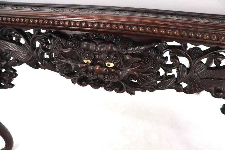 Late 19th Century Pierce Carved Solid Mahogany Desk or Writing Table For Sale 1
