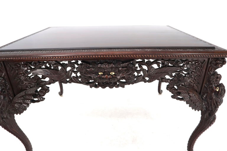 Late 19th Century Pierce Carved Solid Mahogany Desk or Writing Table For Sale 2