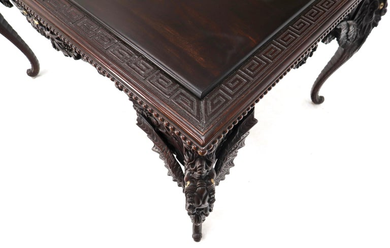 Late 19th Century Pierce Carved Solid Mahogany Desk or Writing Table For Sale 4