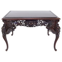 Late 19th Century Pierce Carved Solid Mahogany Desk or Writing Table