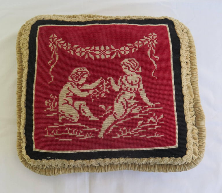 Classical Greek Late 19th Century Pillow or Cushion Needlepoint Tapestry of Classical Design For Sale