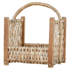 Late 19th Century Pine and Wicker Log Basket