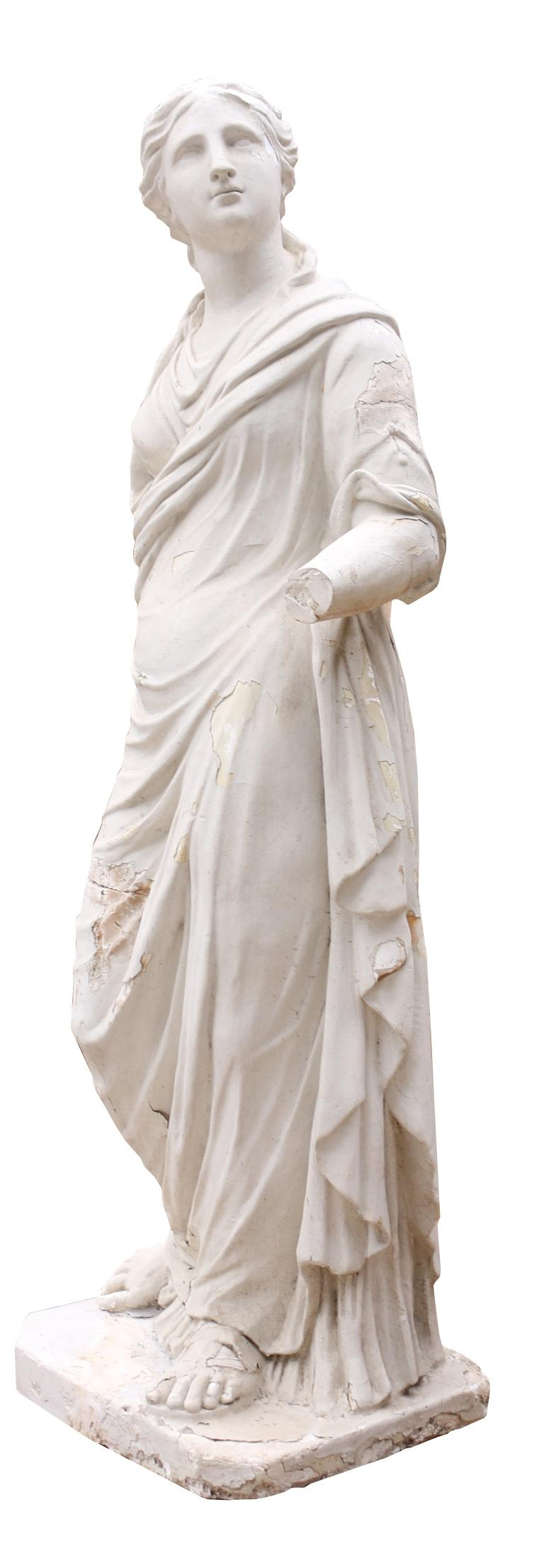 This life size statue dates to the late 19th century and is made from plaster.  This statue is weathered and has various losses and repairs that are shown in the images.  Measures: Height 167 cm Width 65 cm Depth 50 cm  Weight 74 kg.